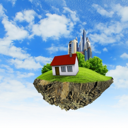 reclusion: Little fine island   planet  A piece of land in the air  Lawn with house and tree  Pathway in the grass  Detailed ground in the base  Concept of success and happiness, idyllic ecological lifestyle Stock Photo