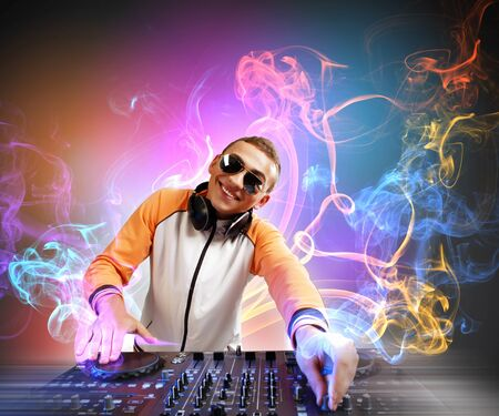 jockey: DJ with a mixer equipment to control sound and play music Stock Photo