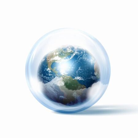 the world or our planet earth inside a glass sphere Stock Photo - 17022566