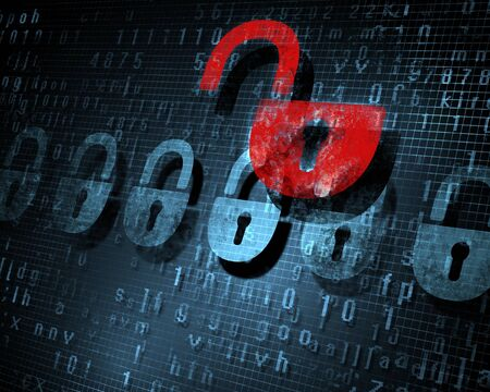 Security concept  Lock on digital screen, illustration Stock Illustration - 17022146