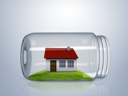 Residential house with red roof inside glass jar photo