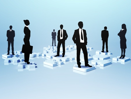 Symbol of social network and human figures photo
