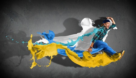 Modern style dancer jumping and paint splashes Illustration illustration