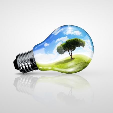 グリーン エネルギー記号、生態学の概念、電球 写真素材
