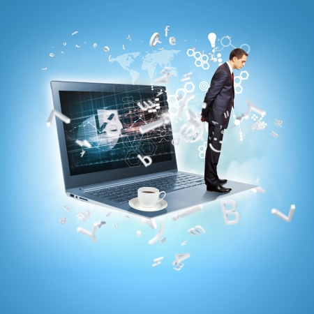 Modern technology illustration with computers and business person Stock Illustration - 17054963