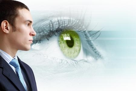 Macro image of human eye against white background photo