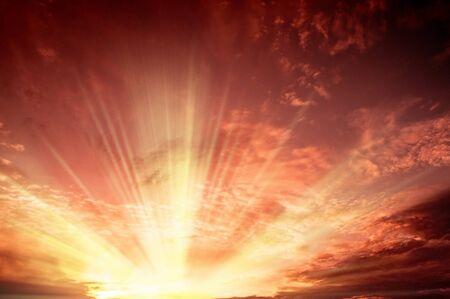 fantasy landscape: Dark clouds with sun rays over sea