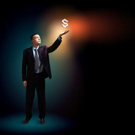 Modern people doing business, young businessman with money symbols Stock Photo - 17054861