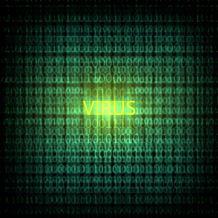 cyber attack: A computer virus detection symbol illustration with word Virus Stock Photo