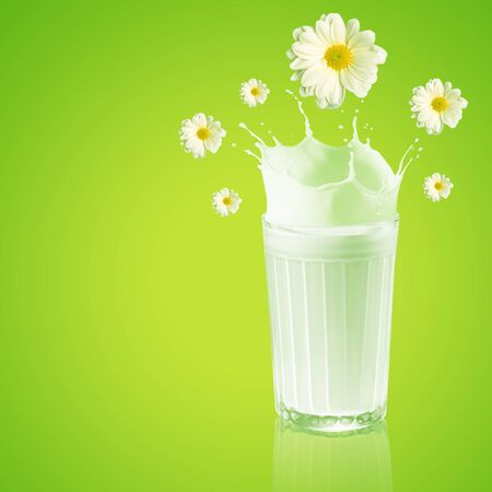 Fresh milk in the glass on colour background, illustration illustration