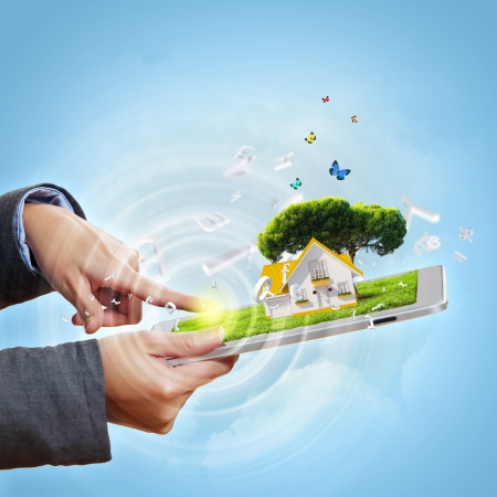 concept idea: Modern green technology for ecology protection illustration Stock Photo