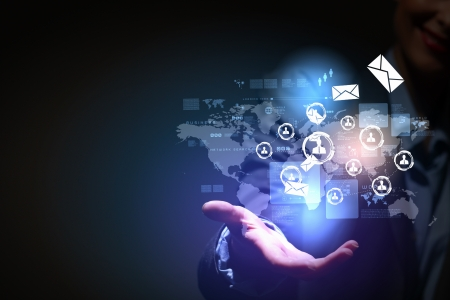 portable information device: Modern wireless technology illustration with a computer device