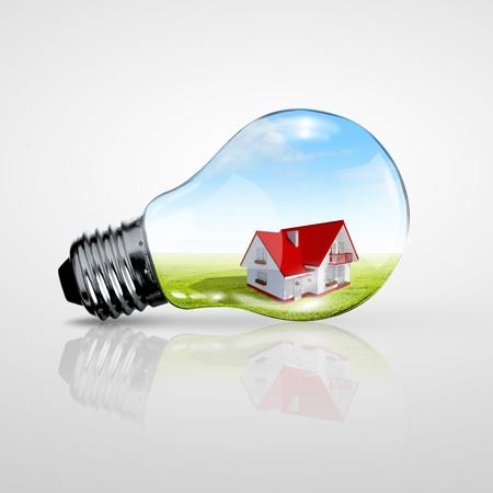 ecologic: Green energy symbols, ecology concept, light bulb Stock Photo