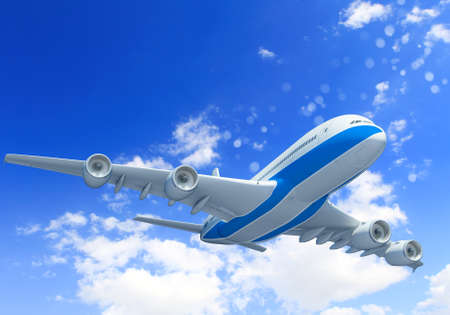 White passenger plane flying in the blue sky with white clouds around photo