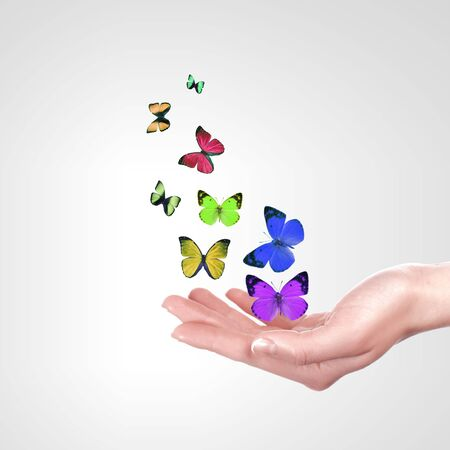 The Human hands releasing colourful butterflies illustration