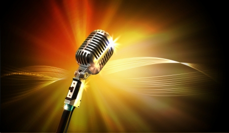 Single retro microphone against colourful background with lights Stock Photo - 17397966