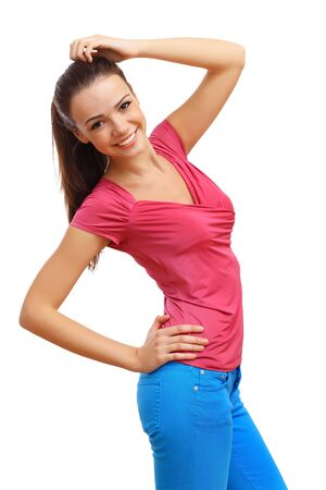 Happy smiling girl dancing and listening to music Stock Photo - 17398045