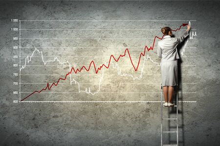 businesswoman standing on ladder drawing diagrams and graphs on wall Stock Photo - 17398816