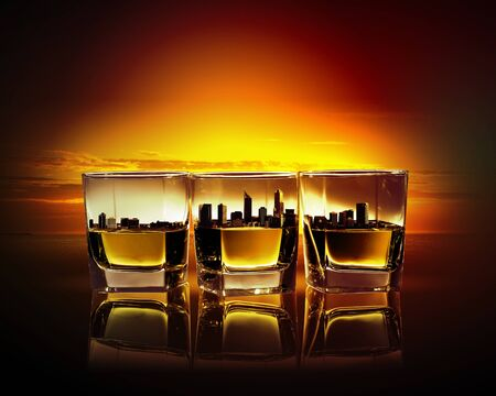 bocal: Image of three glasses of whiskey with city illustration in Stock Photo