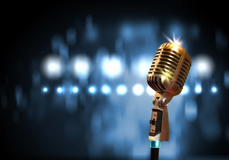 Single retro microphone against colourful background with lights Stock Photo - 17397847