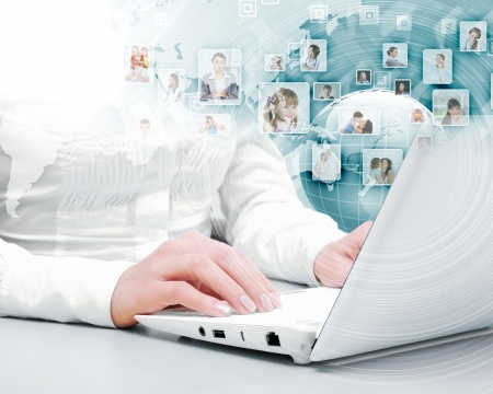 Symbol of social network with people images Stock Photo