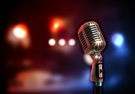 Single retro microphone against colourful background with lights Stock Photo - 17398989