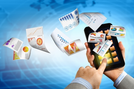 business , e-commerce concept illustration with graphs and charts from computer Stock Illustration - 17400271