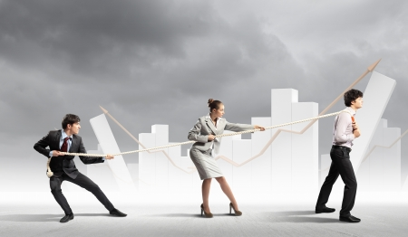 pulling rope: Image of three businesspeople pulling rope with bars picture in background