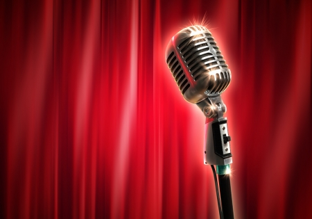 Single retro microphone against red curtains closed on the background photo