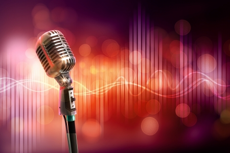Single retro microphone against colourful background with lights Stock Photo - 17428408