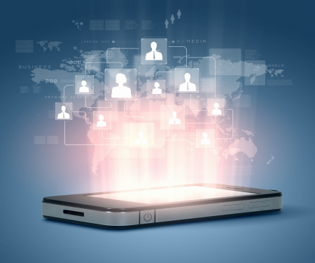 통신: 휴대 전화 및 하이테크 배경으로 현대 통신 기술의 그림