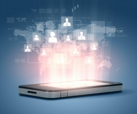 technológia: Modern kommunikációs technológia illusztráció mobiltelefon és high tech háttér Stock fotó