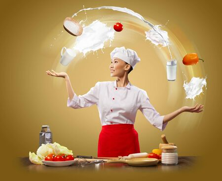 inair: juggler female asian cook against color background
