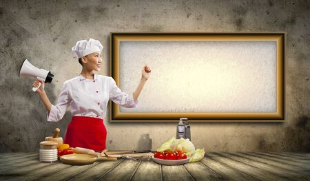 Asian female cook holding megaphone with space for text Stock Photo - 17494702