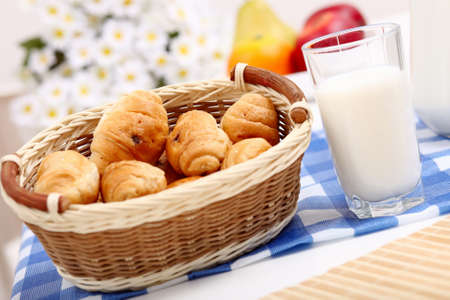 Continental breakfast with croisant and glass of milk photo