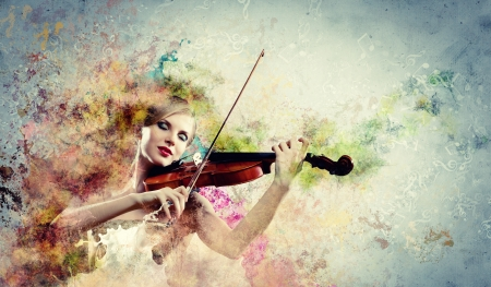 Image of beautiful female violinist playing with closed eyes against splashes background Stock Photo - 17532367