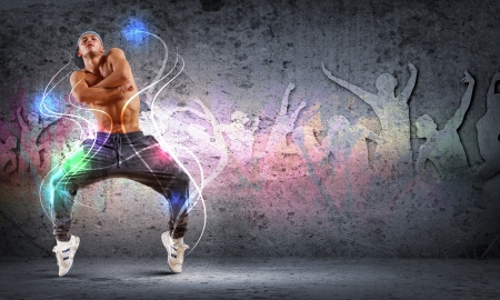 black rapper: young man in a blue cap dancing hip hop - collage