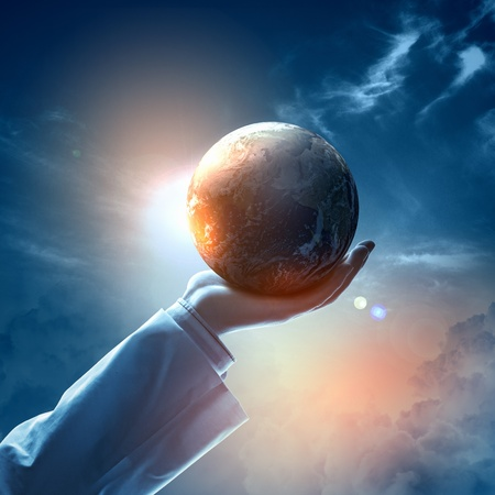 Hand of businessman holding earth planet against illustration background illustration