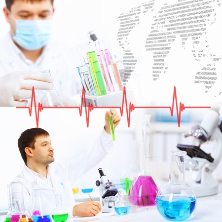 Collage with scientists working with liquids at laboratory Stock Photo - 17534259