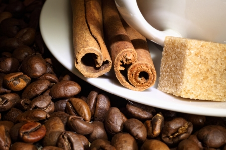 Image of coffee beans and white cup Stock Photo - 17579187