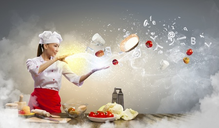 inair: Asian female cooking with magic against color background