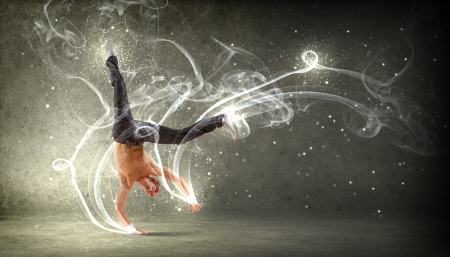 pies bailando: Bailar�n moderno estilo masculino saltando y posando Ilustraci�n