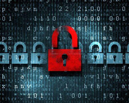Security concept  Lock on digital screen, illustration Stock Illustration - 17579207