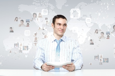 Image of a business person and finance related background Stock Photo - 17578828