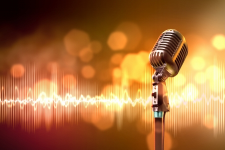 Single retro microphone against colourful background with lights Stock Photo - 17579170