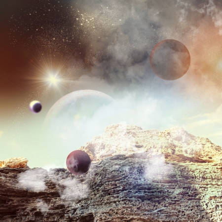 Image of planets in fantastic space against dark background photo