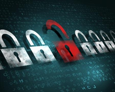개인 정보 보호: 디지털 방식으로 스크린, 그림에 보안 개념 잠금