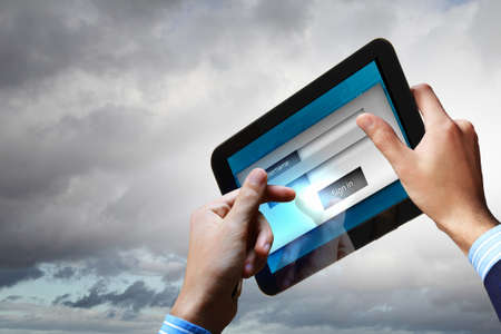 Login with email and password on computer screen Stock Photo - 17614262