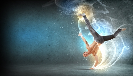 entertainer: Modern style male dancer jumping and posing  Illustration Stock Photo