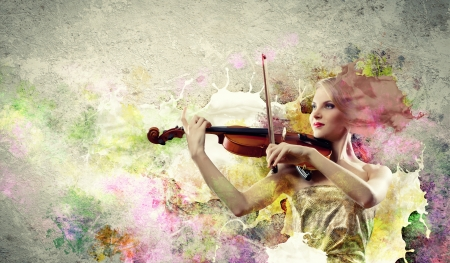 Image of beautiful female violinist playing against splashes background photo